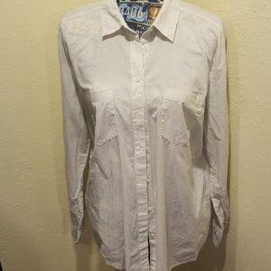 Ann Taylor Loft button down polka dot blouse